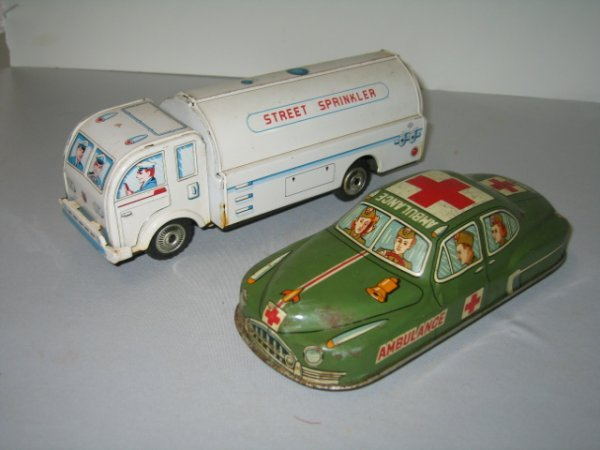 513: 2 JAP TIN LITHO FRICTION TRUCK AND CAR