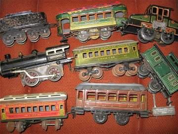 701: IVES TIN LITHO TRAINS. 8 PCS.