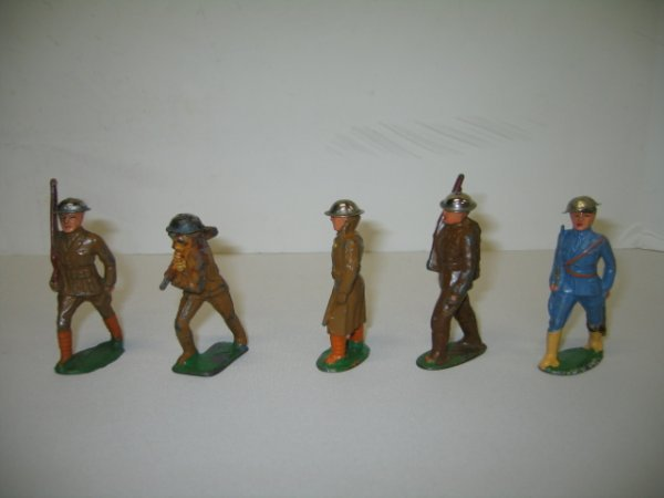 1: BARCLAY LEAD TOY SOLDIERS, 5 TOTAL