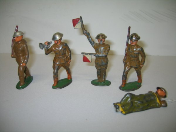 2: BARCLAY LEAD TOY SOLDIERS, 5 TOTAL