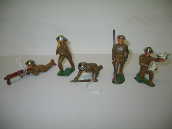 3: BARCLAY LEAD TOY SOLDIERS, 5 TOTAL