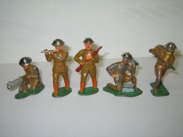 5: BARCLAY LEAD TOY SOLDIERS, 5 TOTAL