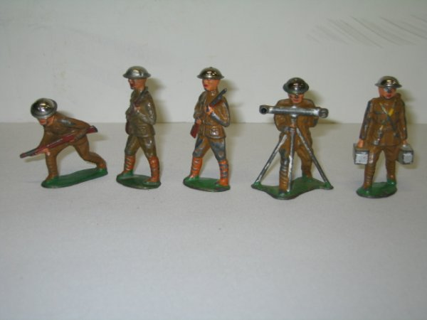 12: BARCLAY LEAD TOY SOLDIERS, 5 TOTAL