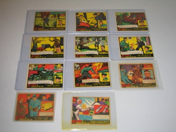 13: GUM CARDS, G-MEN & HEROES OF THE LAW, 11 TOTAL