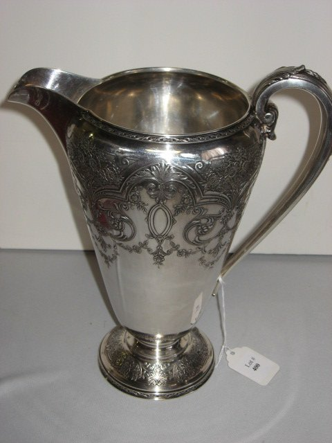 400: SILVER WATER PITCHER BY WILCOX.  FINELY ETCHED.