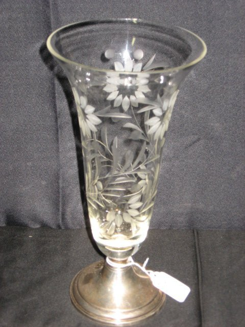 405A: CRYSTAL VASE W/STERLING BASE, WHEEL CUT