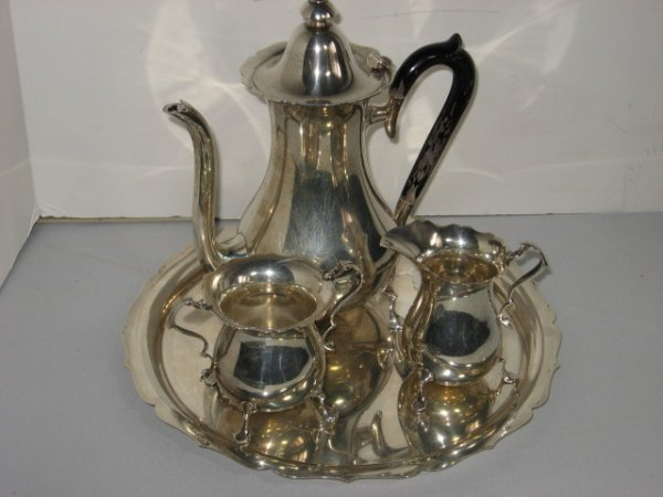 418: 4 PC. STERLING TEA SET W/ROSEWOOD HANDLES
