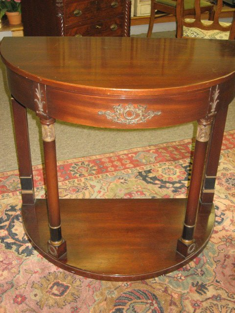 492: KITTINGER SOLID MAHOGANY CURVED CONSOLE