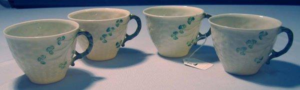 4: 4 BELLEEK TEA CUPS, BASKETWEAVE, SHAMROCKS