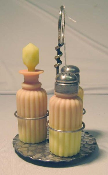 21: BURMESE CRUET SET- SALT PEPPER VINEGAR