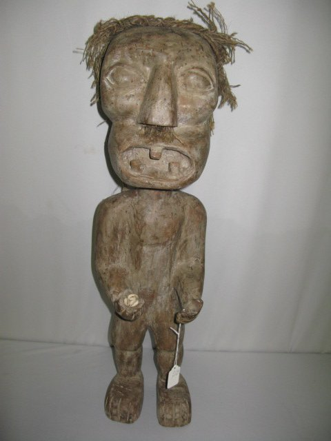305A: BORNEO CARVED FIGURE. MAN W/MUSTACHE