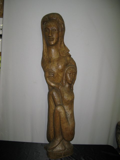 306: HAITIAN CARVED FEMALE STATUE BY ANDRE DIMANCHE.  F