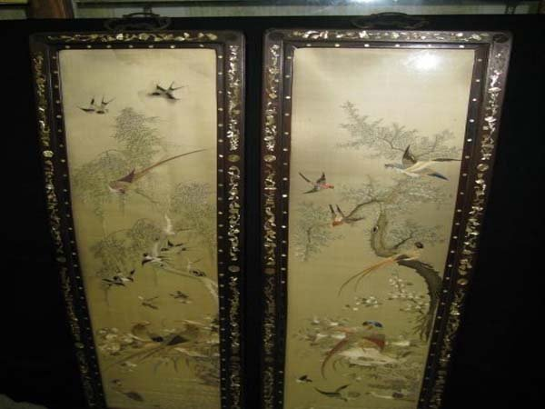 402: PR. CHINESE EMBROIDERED PANELS IN ROSEWOOD FRAME.