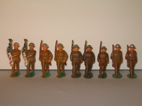 1: MANOIL LEAD TOY SOLDIERS, 9 TOTAL
