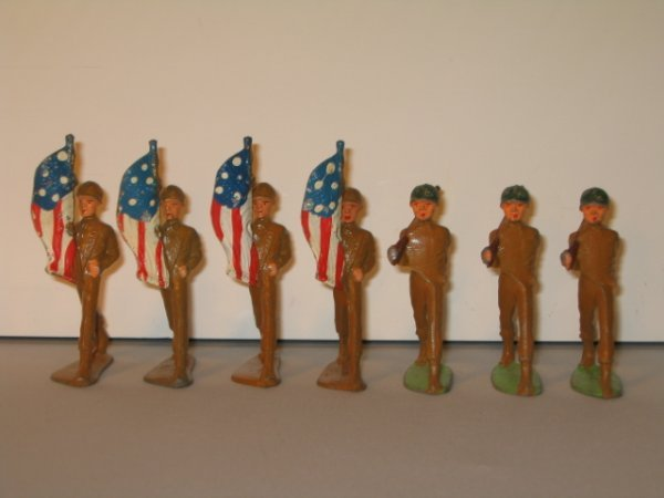 8: MANOIL SKINNNY SERIES LEAD TOY SOLDIERS, 7 PCS