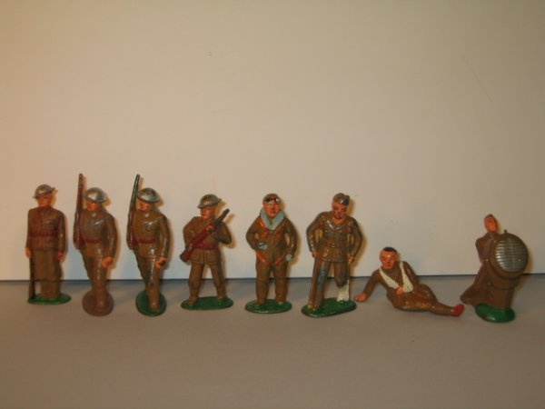 13: BARCLAY LEAD TOY SOLDIERS, 8 TOTAL