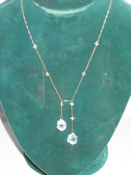 351: '30'S CRYSTAL DROP NECKLACE ON STERLING CHAIN