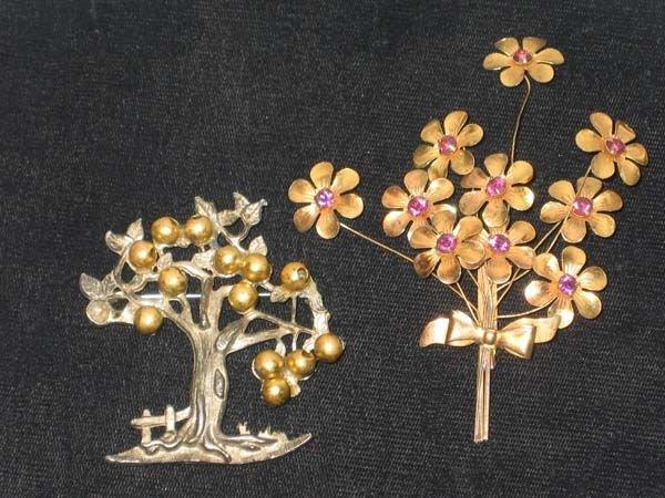 368: 2 VINTAGE PINS.  BOUQUET W/FLOWERS, APPLE TREE