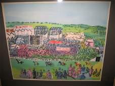 568: RAOUL DUFY HAND COLORED LITHO HORSES RACING.