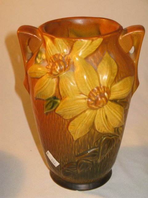 "7: ROSEVILLE BROWN ""CLEMATIS"" POTTERY VASE #105-7"""