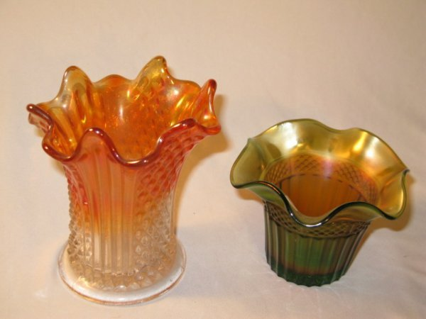 22: 2 PCS. CARNIVAL GLASS VASES, COLUMNS & FILE, GREEN