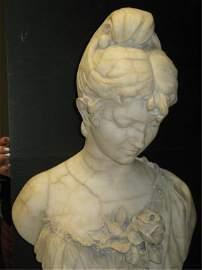 91: VINTAGE ITALIAN MARBLE STATUE-FEMALE BUST