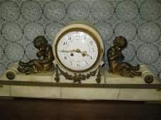 116: FIGURAL FRENCH MARBLE H & H MANTLE CLOCK W/CHERUBS