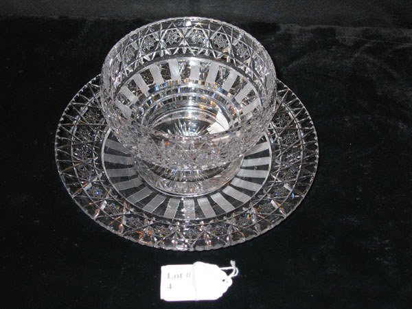 4: HAWKES MAYONNAISE DISH W/UNDERPLATE. ETCHED BRILLI