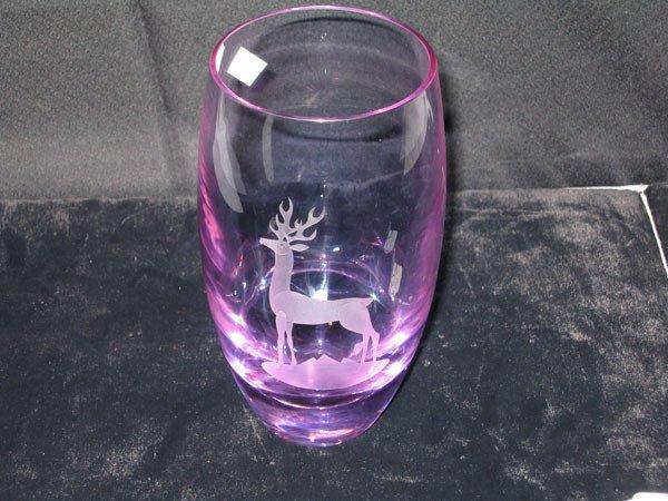 12: SIGNED AMETHYST GLASS VASE, ETCHED ROE DEER.