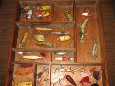 150: 20+ EARLY FISHING LURES & DISPLAY CASE.