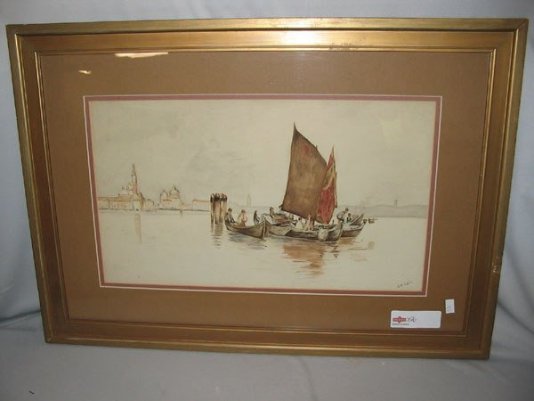 212: SGD. L.M. SABIN WATERCOLOR VENETIAN FISHERMEN.
