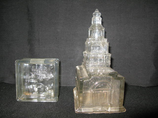 2: 2 GLASS STILL BANKS-NY WORLD'S FAIR/INDEPENDENCE HAL