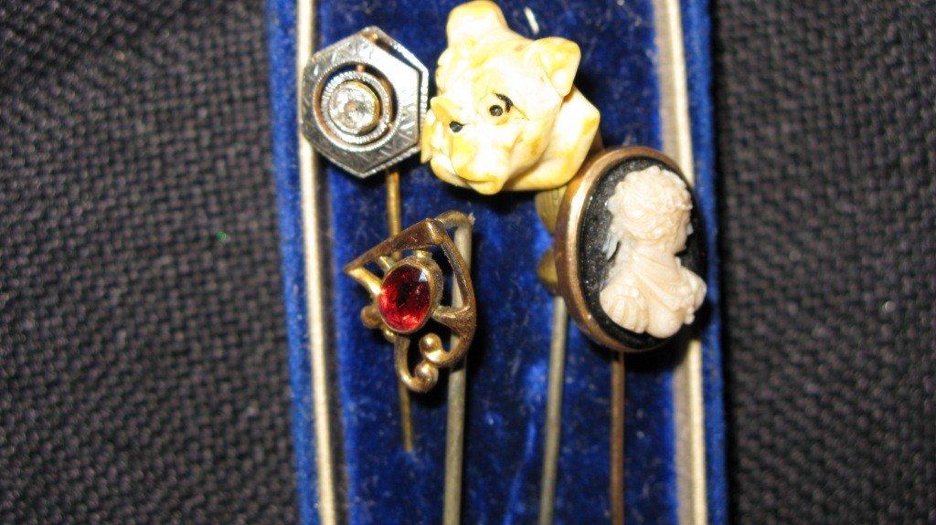 309: 4 STIK PINS, DIAMOND, IVORY BULLDOG, CAMEO