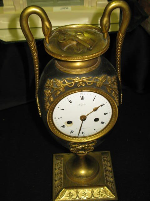 """365: FRENCH BRONZE CLOCK WITH SWANS, 16""""H"""