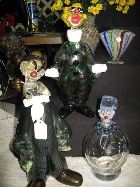 19: 3 GLASS BLOWN CLOWN DECANTERS