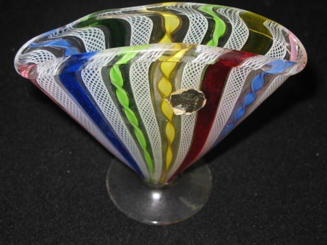 20: MURANO LETTICINO GLASS  ENVELOPE VASE