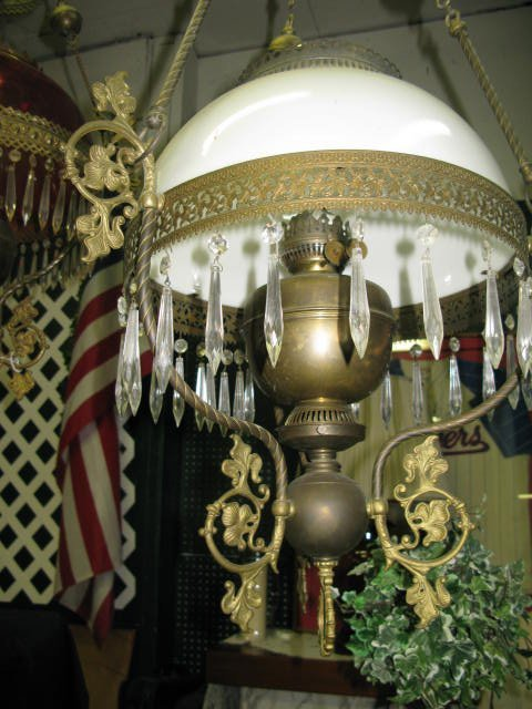 1: FANCY HANGING LIBRARY OIL LAMP. WHITE SHADE