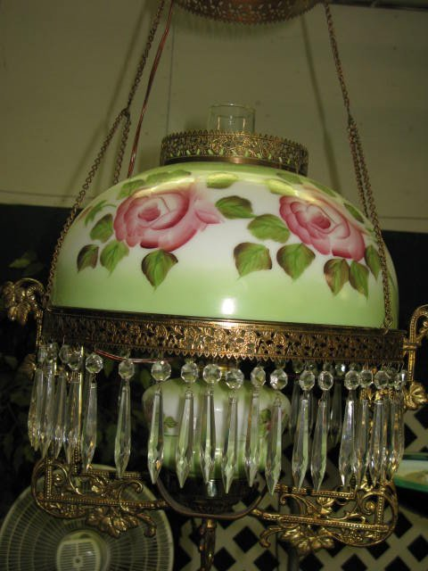 4: ANTIQUE HANGING ELECTRIFIED PARLOR LAMP