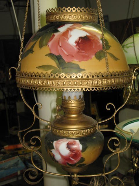5: ANTIQUE HANGING PARLOR LAMP.  LG. ROSE & VINES
