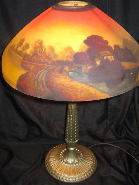 8: REVERSE PAINTED LAMP, POSSIBLY JEFFERSON