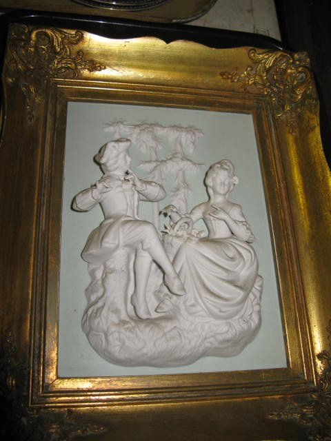 """12: MARKED DRESDEN """"N"""" FRAMED PIC OF COURTING COUPLE"""