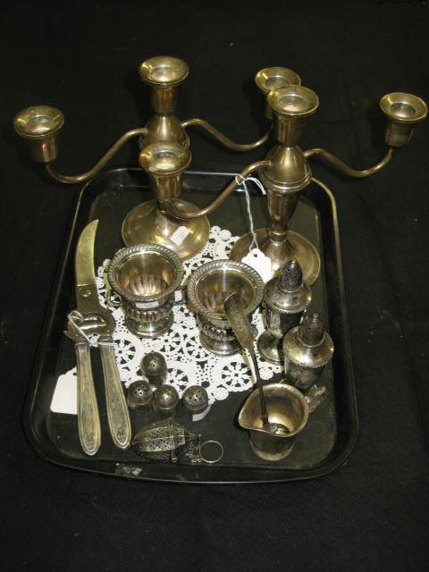13: STERLING LOT INCL.  3-CANDLE CANDELABRA
