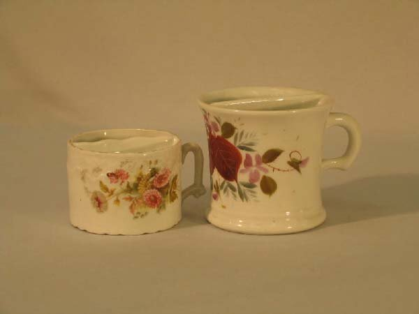 13: 2 SHAVING MUGS, (1 IRONSTONE)