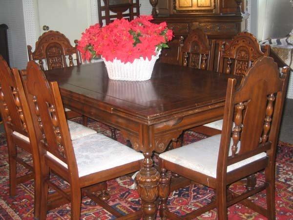 jacobean dining room set   204: JACOBEAN-STYLE DINING ROOM SET, WALNUT : Lot 204