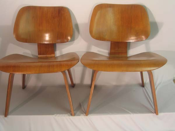 216: PR. EAMES-STYLE CHAIRS.  PLYWOOD