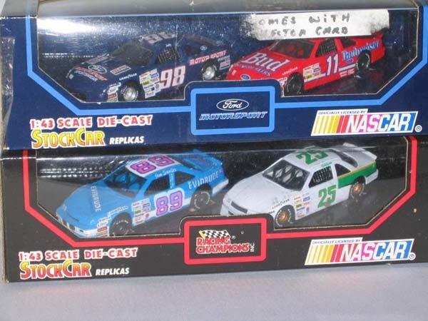 357: 2 NASCAR STOCK CARS BOX REPLICAS, 4 CARS