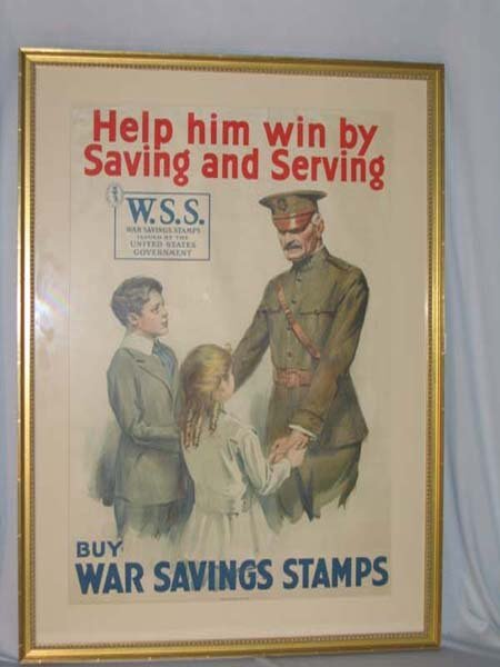 969: 1918 POSTER SHOWING SOLDIER AND CHILDREN