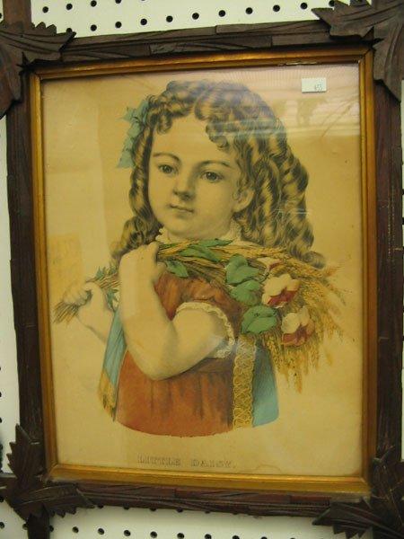 12: CURRIER & IVES LITHO LITTLE DAISY GIRL WITH BOUQUE