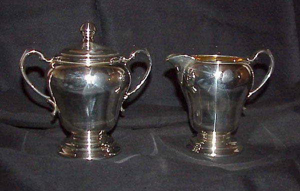 15: STERLING CREAM AND SUGAR SET WITH GOLD WASH.  MEAS