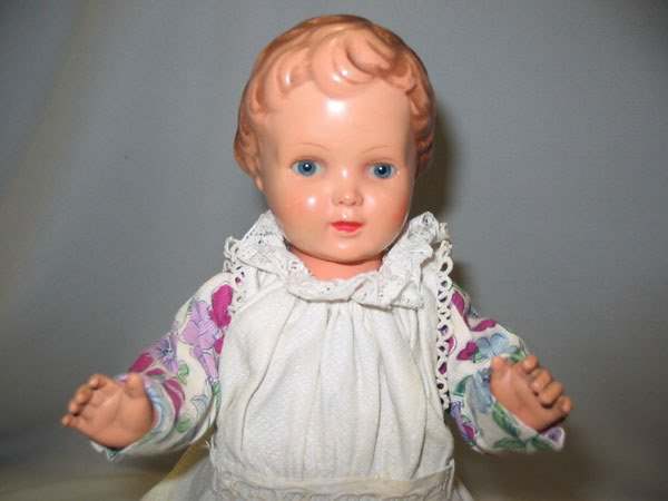 85: GERMAN CELLULOID TURTLE MARK VINTAGE GIRL DOLL.  V